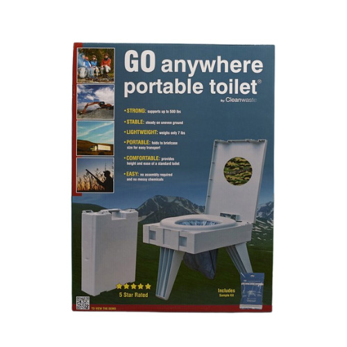 GO Anywhere Portable Toilet - PETT - Examples of Use - Front of Box